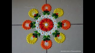 Very easy and quick rangoli using bangles | Easy rangoli designs by Poonam Borkar