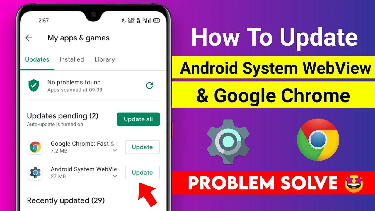Cómo actualizar WebView del sistema Android