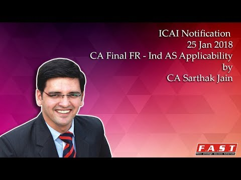 CA FINAL IND AS APPLICABILITY FOR MAY 2018 (Old Course) - ICAI Notification