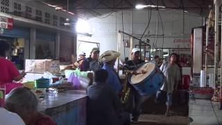 Músicos en el mercado de Arcelia, Guerrero