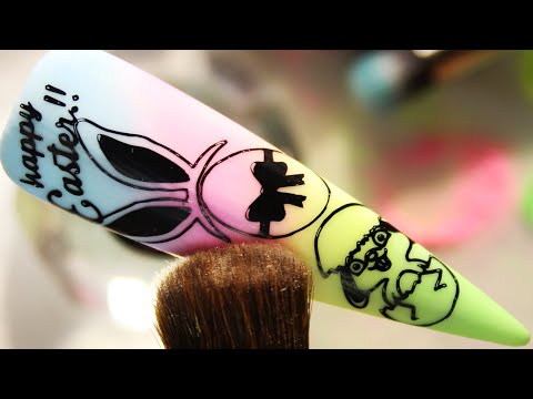 (How-To) Happy Easter Egg Bunny Stamping Nail Art