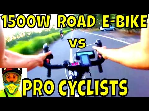 Pro cyclists vs 1500w road e-bike • Top Speed test on flat • DIY electric bike Bafang BBSHD motor