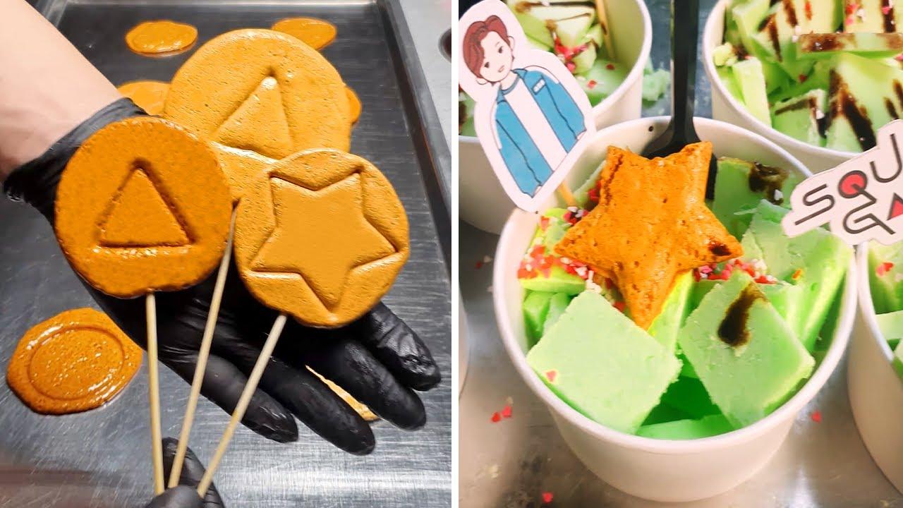 Dalgona Game in Netflix Squid Game  Korean Street Food  오징어 게임   달고나 게임 | Satisfying ICE