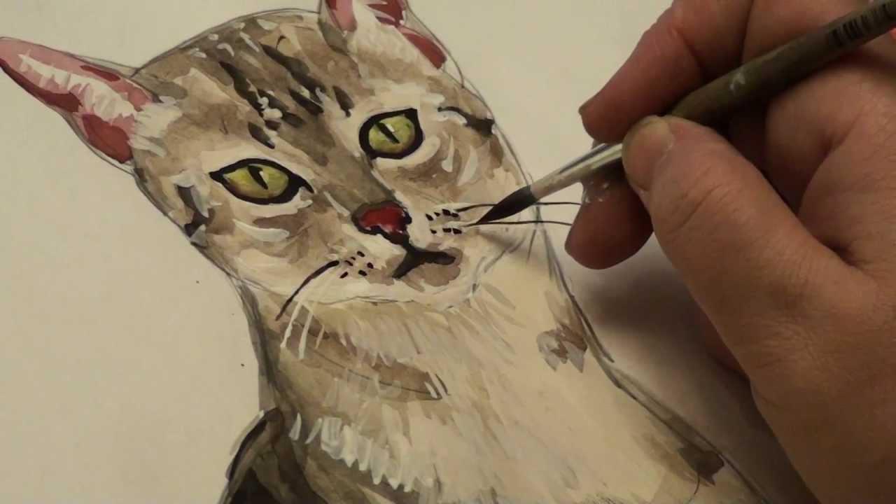 Рисуем акварелью котов
