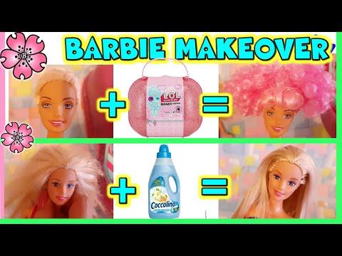 BARBIE MAKEOVER!! DA BRUTTA A BELLA con le PARRUCCHE LOL!! toys life hacks by LAra e Babou