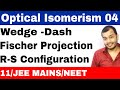 Isomerism 12 || Optical Isomers 04 : Wedge Dash and Fischer Projections with R-S Configurations