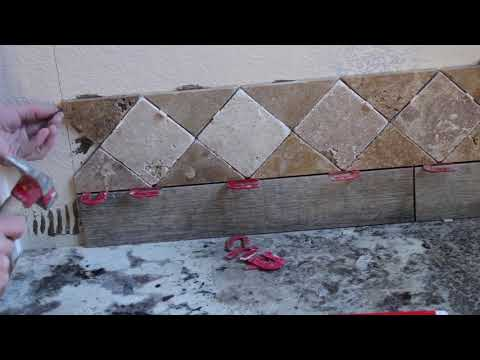 Time Lapse -Small Tub Area -Wood Look Tile With Marble Design  - Start to Finish Installation