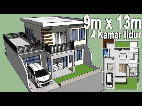 desain rumah minimalis 9x13 - 2 lantai - 4 kamar tidur