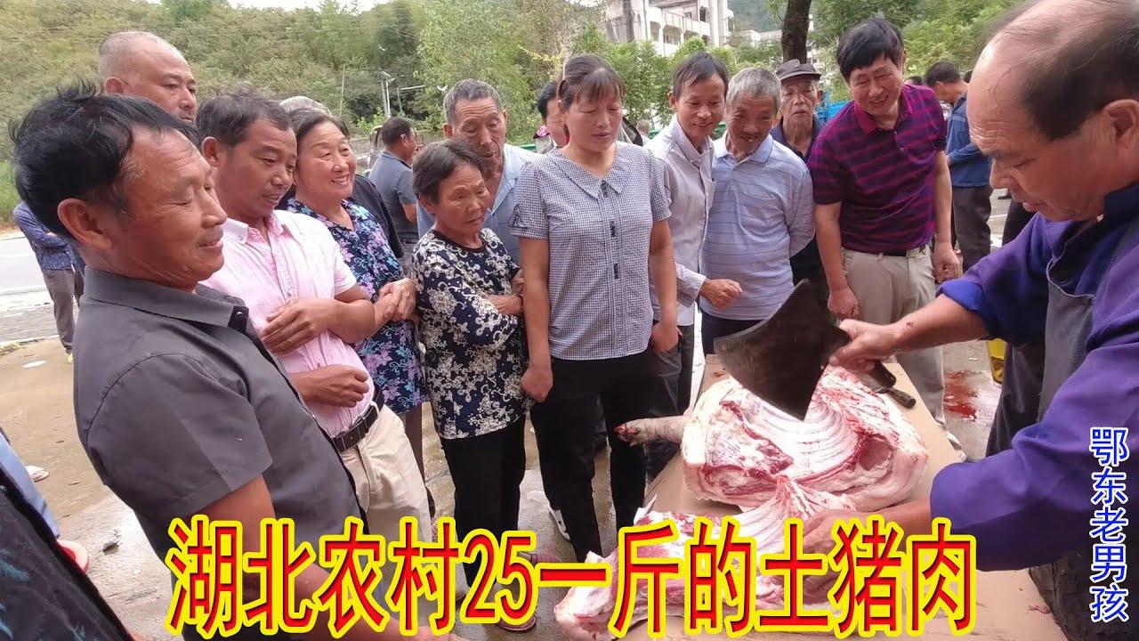 湖北农村庆中秋,宰杀350斤的大土猪,25块钱一斤的猪肉瞬间卖光