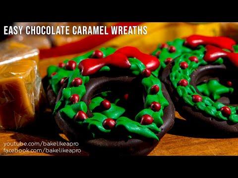 Easy Chocolate Caramel Christmas Wreaths