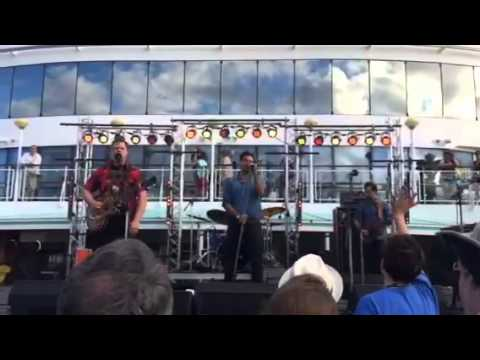 "Lone Bellow. ""Cold as it is.""  Pool deck - Cayamo 2015 (sho"