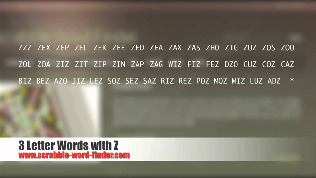 3 letter words with Z