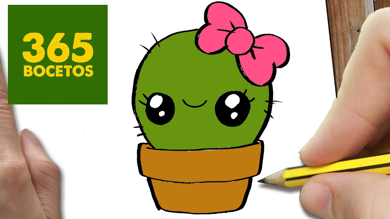 COMO DIBUJAR UN CACTUS KAWAII PASO A PASO , Dibujos kawaii faciles , How to draw a cactus