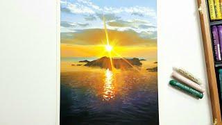 Golden Sunset / Oil pastel Dra…