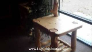 Rustic End Table - Aspen Log End Table W/ Built-in Lamp, Aspen Log Furniture