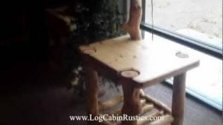 Rustic End Table - Aspen Log End Table W/ Built-in Lamp, Aspen Log Furniture