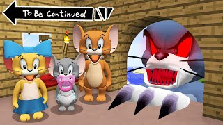 JERRY FAMILY vs GIANT SCARY TOM in Minecraft ! Real Tom and Jerry  GAMEPLAY Movie Trap
