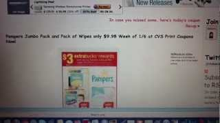 Pampers Diapers And Wipes Printable Coupons For Cvs 1-6-13 Deal
