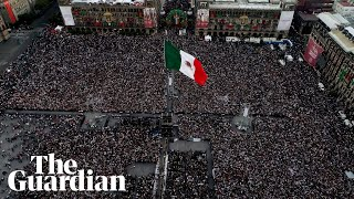 Tens of thousands gather for inauguration of Mexico's new leader – drone footage