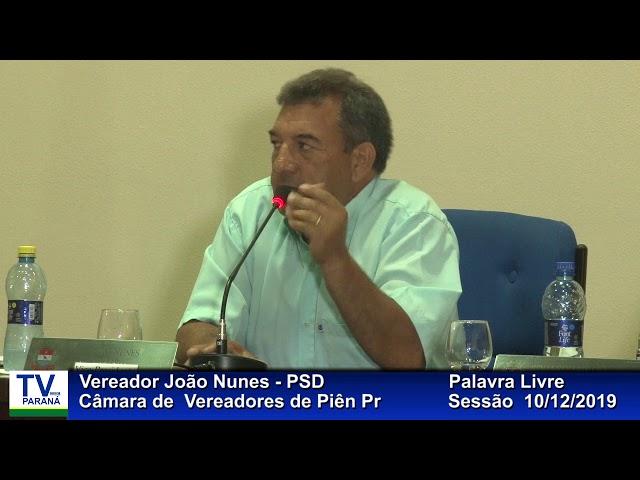 Vereador  João Nunes   PSD  Palavra Livre Sessão 10 12 2019