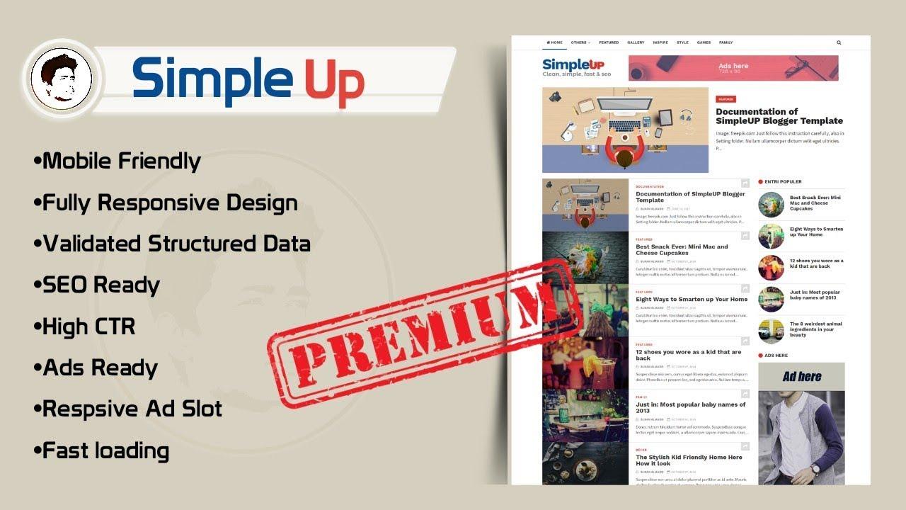 SimpleUp - Clean, Simple, Seo Blogger template Premium Version Now ...