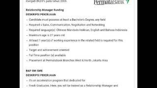 Lowongan Kerja PT. Permata Bank, Tbk November 2016 Fresh Graduate/ Berpengalaman
