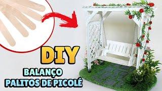 Baixar DIY: BALANÇO DE JARDIM MINIATURA com Pergolado - Artesanato Palitos Picolé (Casa Bonecas, Maquetes)
