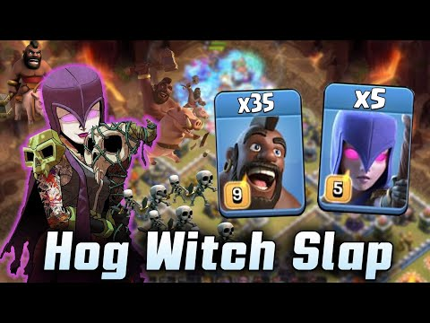 New Hog Witch Attack 2019! 32 Max Hogs 5 Max Witch Smashing TH12 War Base | Clash Of Clans