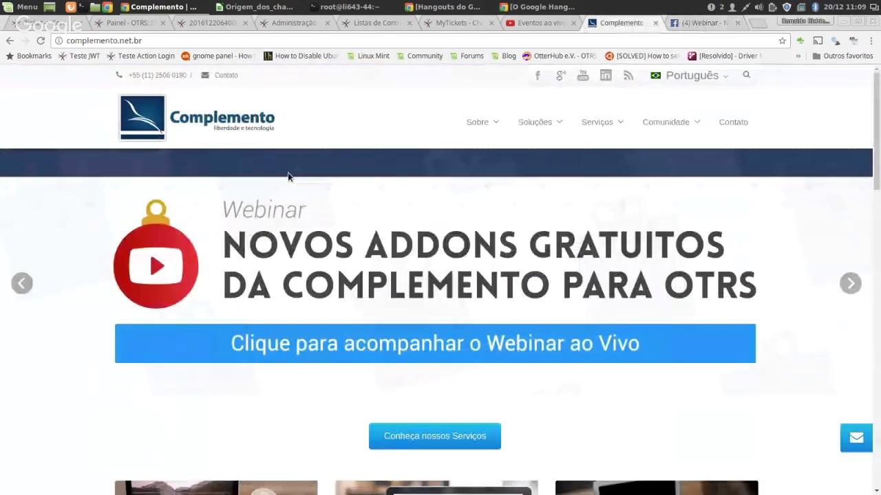 Webinar - Novos AddOns gratuítos da Complemento para OTRS - YouTube
