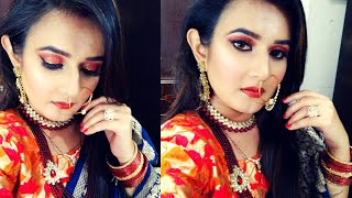 Karwachauth ,Diwali पे ऐसे तैयार होंगे तो,पति की आपसे नजर नही हटेगी/OrangeGlitter Eyes/SWATI BHAMBRA