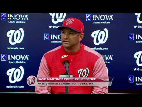 Davey Martinez speaks with the media after being ejected from game against the Mets