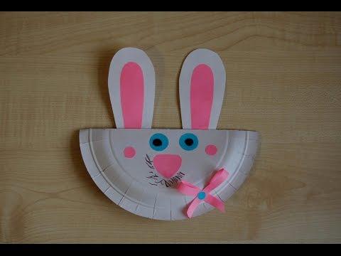 Розовый заяц. Аппликация из цветной бумаги и одноразовой тарелки. Детская зимняя поделка. DIY.
