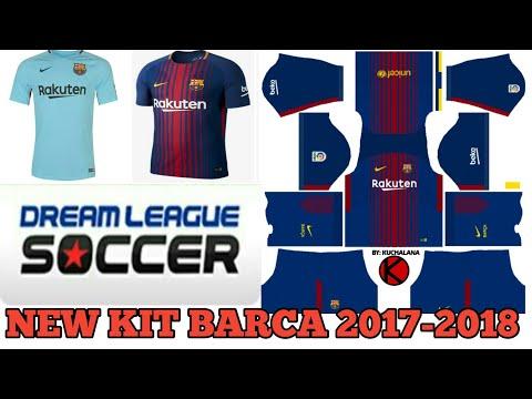 Rakuten New All Kits 2017-2018 Of Barcelona In Dream League Soccer