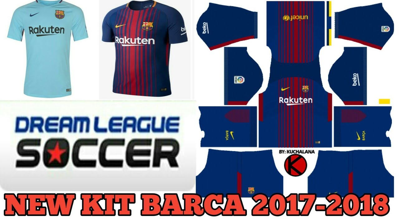 768984b8d Rakuten New All Kits 2017-2018 Of Barcelona In Dream League Soccer ...