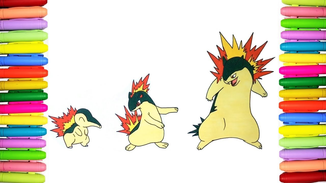 Pokemon Coloring Pages   Cyndaquil, Quilava And Typhlosion