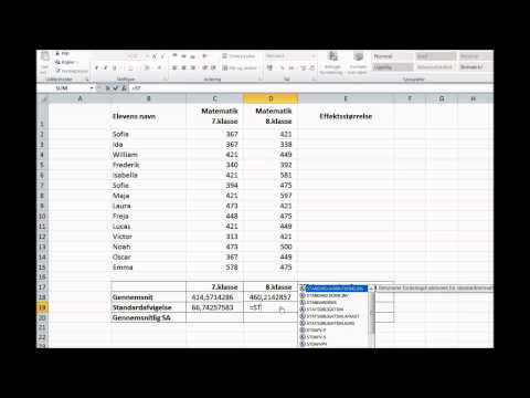 Beregning af effektstørrelser i Excell