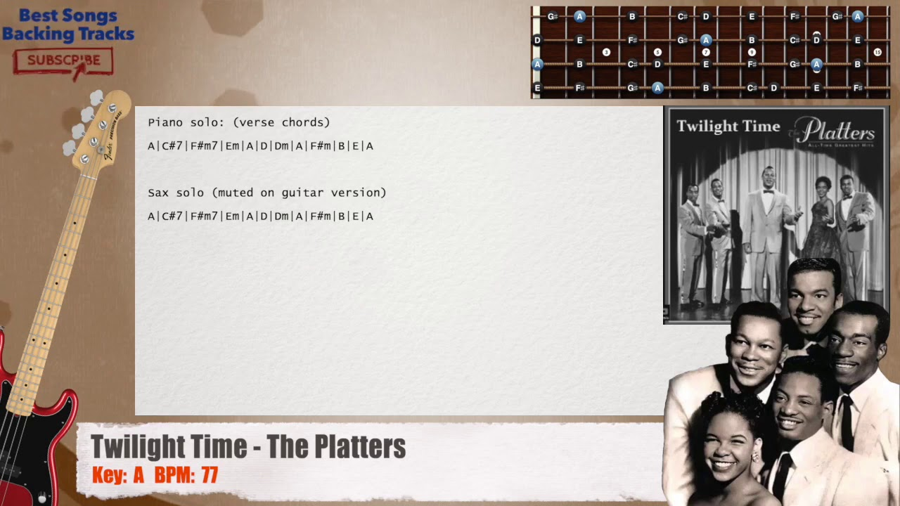 Twilight Time - The Platters Bass Backing Track with chords and lyrics