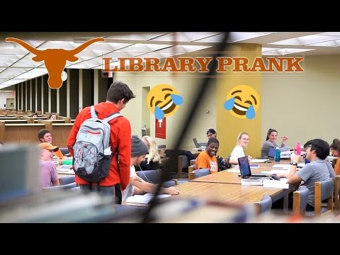 BLASTING EMBARRASSING MUSIC IN LIBRARY PRANK @UT AUSTIN