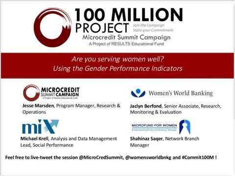 Campaign Commitment E-Workshop: Are you Serving Women Well? The Gender Performance Indicators