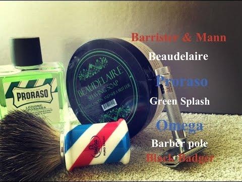 Barrister & Mann Beaudelaire / Proraso Green Splash / Omega Barber pole Black Badger Brush