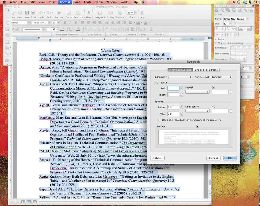 setting up your works cited page in mla using word for mac youtube