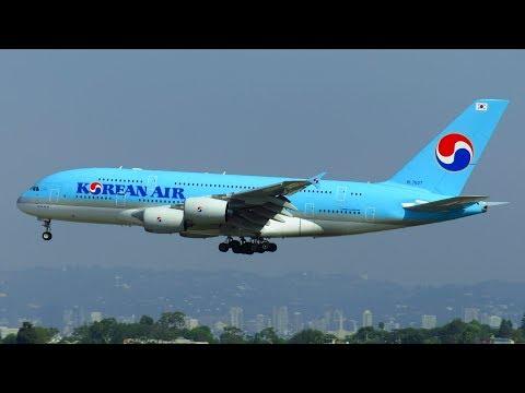 Korean Air Airbus A380 [HL7627] Landing at Los Angeles LAX Airport on Runway 24R!