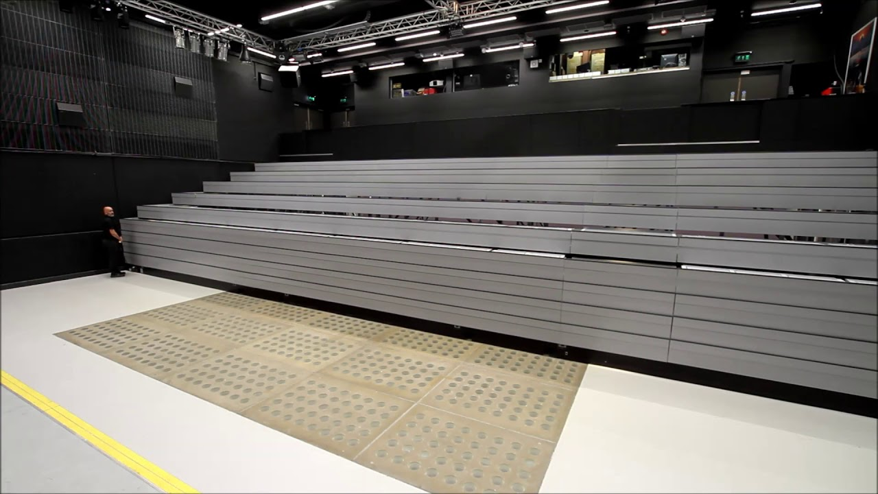 Fixed Recessed Retractable Seating System With Lecture Theatre Chairs Youtube
