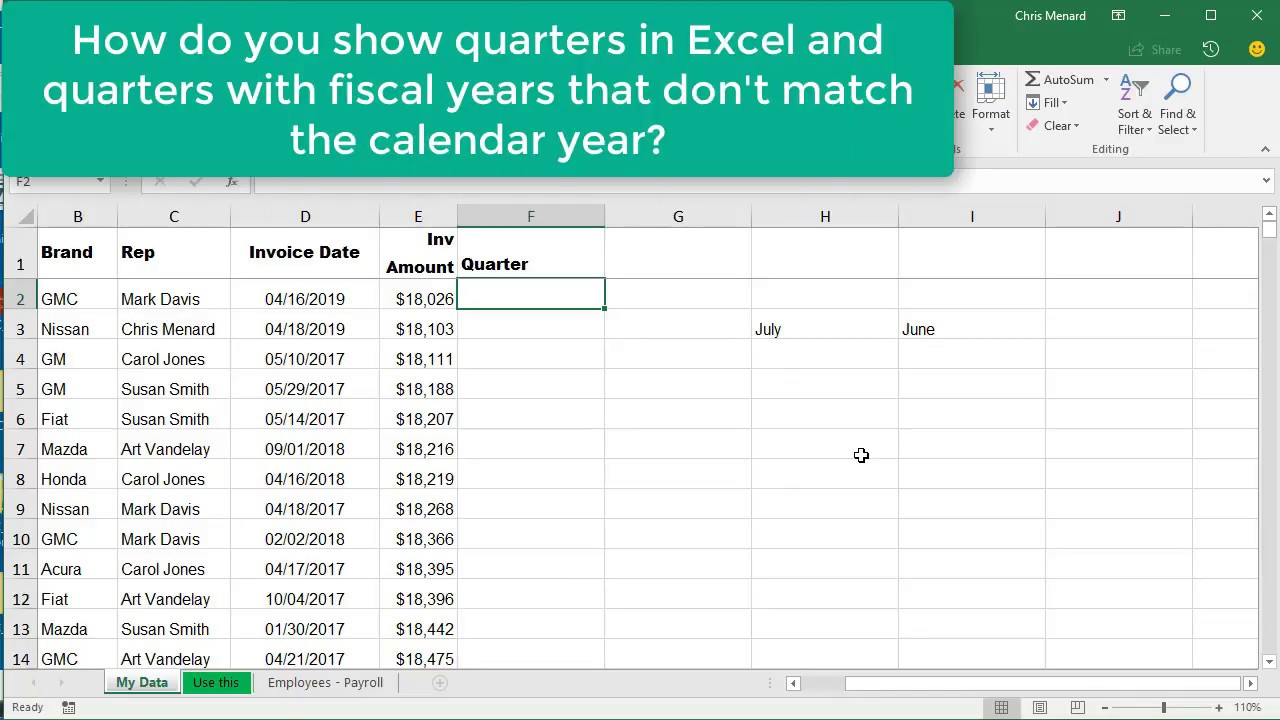 Fiscal Year Calendar Quarters : Excel choose month function for quarters where fiscal
