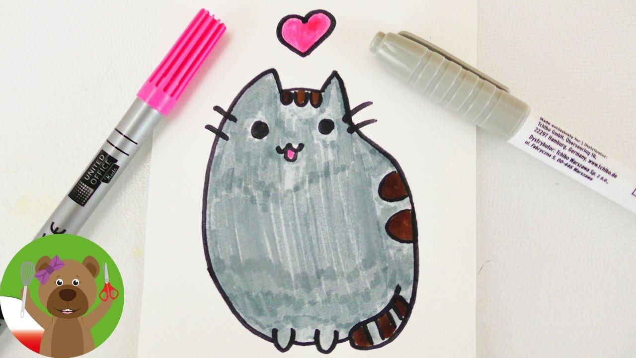 Malowanie Rysowanie Dla Dzieci Kot Pusheen Z Facebooka Technika Kawaii Youtube