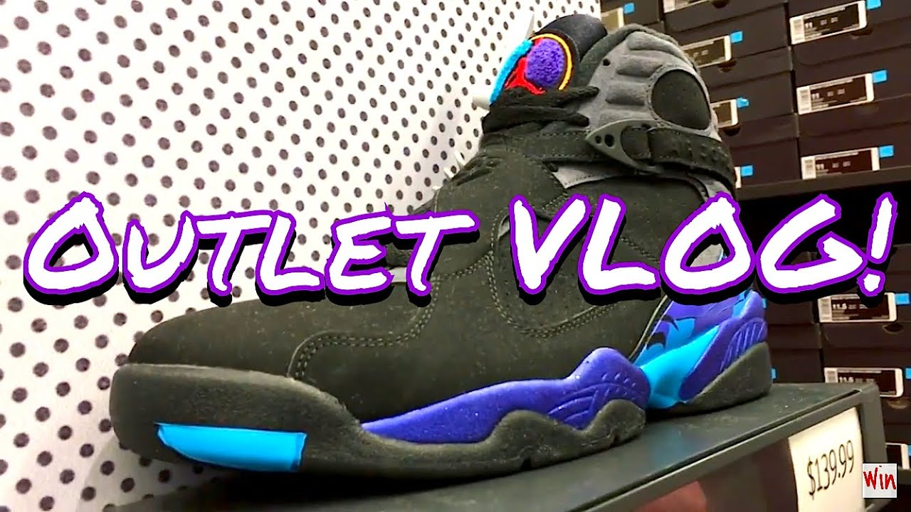OUTLET VLOG! AQUA 8'S STILL SITTING??! UNRELEASED LEBRONS??! LIMITED JORDAN  1'S - YouTube