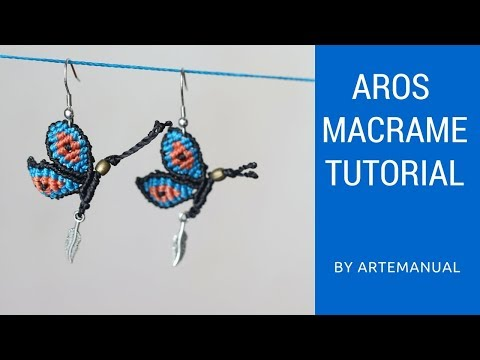 2dd0bc1bce9c Aretes de Mariposa en Macrame 🦋   Macrame Tutorial   Paso a Paso