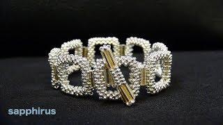 【ビーズステッチ】特小ビーズと竹ビーズだけで作るブレスレット☆作り方 How to make a bracelet with seed beads and bugle beads.