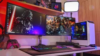 This is the ultimate gaming setup for pc and console streaming! centric tours 2019 with dual 4k monitors, xbox one x an rgb rtx gamin...