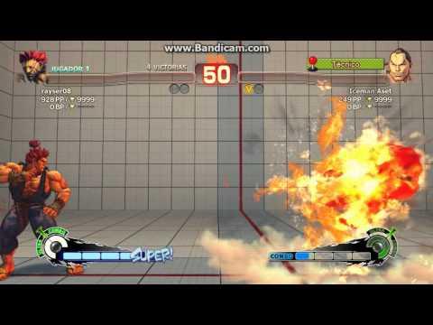 Super Street Fighter IV | Akuma vs Dan (Combate y reacción del perdedor) Guile theme